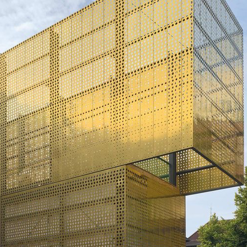 Brass engraving curtain wall