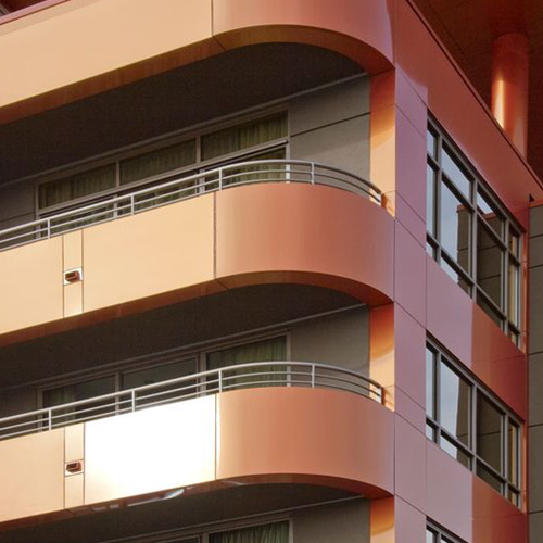 Red copper veneer curtain wall